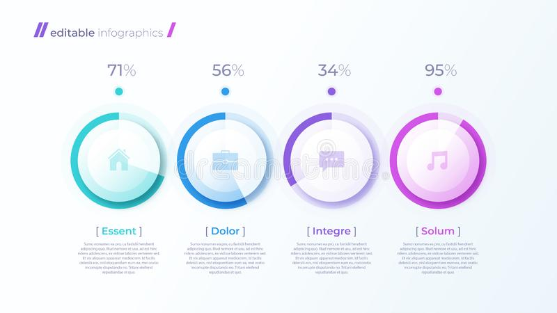 Vector modern editable infographic malplaatje met percentagediagrammen stock illustratie