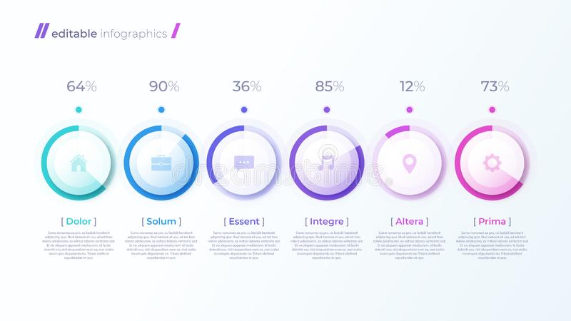 Vector modern editable infographic malplaatje met percentagediagrammen royalty-vrije illustratie