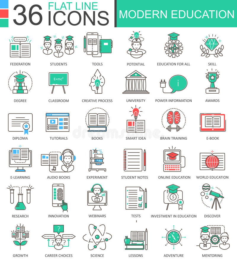 Vector Modern education color flat line outline icons for apps and web design. Internet education icons. Vector Modern education color flat line outline icons stock illustration