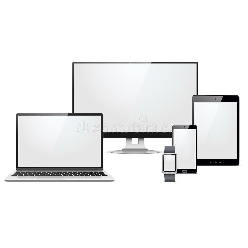 Vector Modern Electronic Devices Set. Isolated on white background royalty free illustration