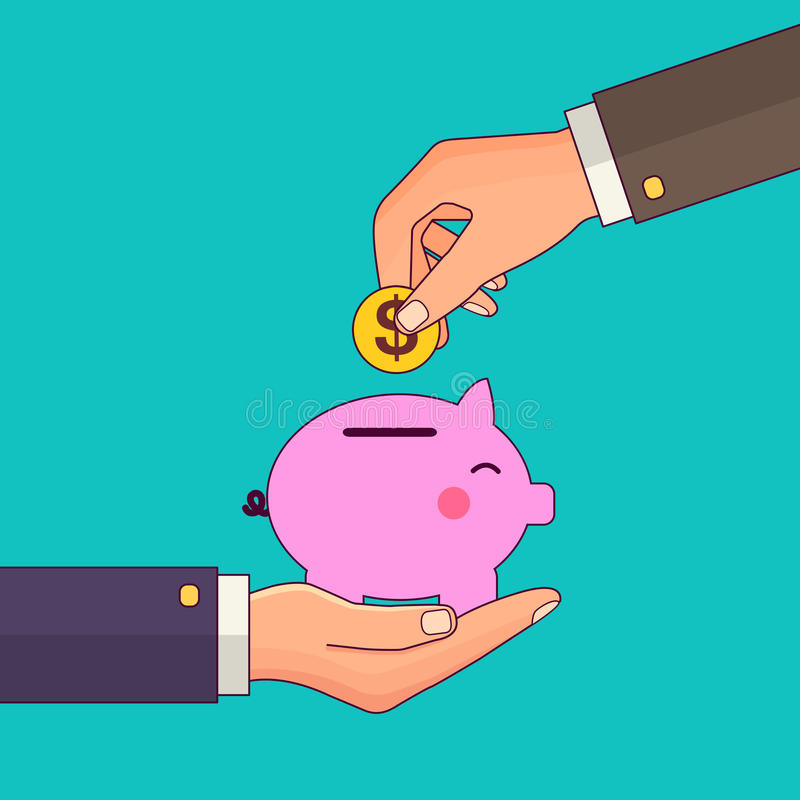 Vector modern flat illustration on hand putting coin into the money box. Happy piggy bank receiving a coin. Savings vector illustration