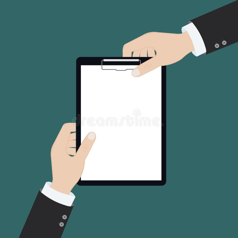 Vector modern flat illustration on hands holding clipboard with empty sheet of paper and pencil | Clipboard with blank paper and stock illustration
