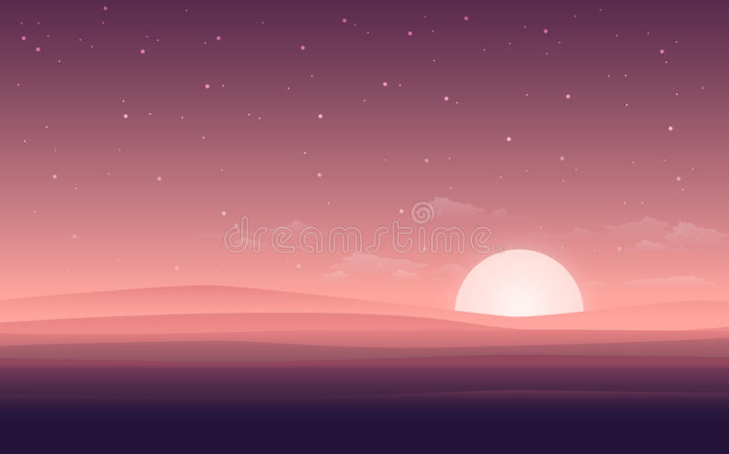 Vector modern flat landscape view with the night of desert. Illustration with the sunset view in the desert. or the website backgr. Ound innovation vector illustration