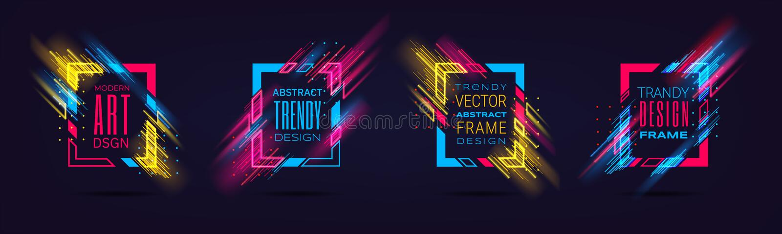 Vector modern frames with neon glowing lines isolated on black background. Art graphics with glitch effect. Holographic. Design element for business cards, gift vector illustration