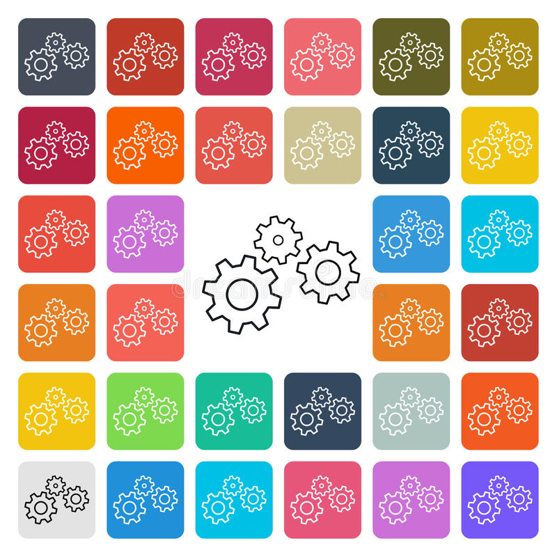 Vector modern gear setting icon set in button vector illustration