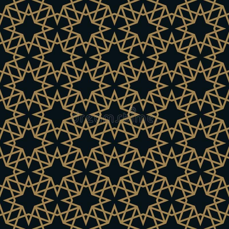 Vector modern geometric tiles pattern. golden lined shape. Abstract art deco seamless luxury background stock illustration