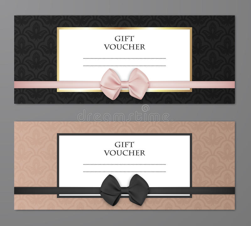 Vector modern gift voucher template set with floral pattern and beautiful bow. Gift coupon, card, invitation stock illustration
