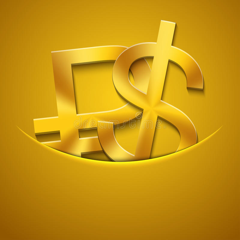 Vector modern gold ruble and dollar icons. Background. Eps10 vector illustration