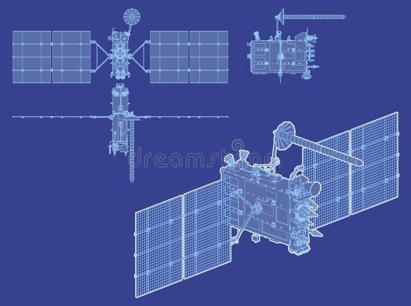 Vector modern GPS satellite royalty free illustration