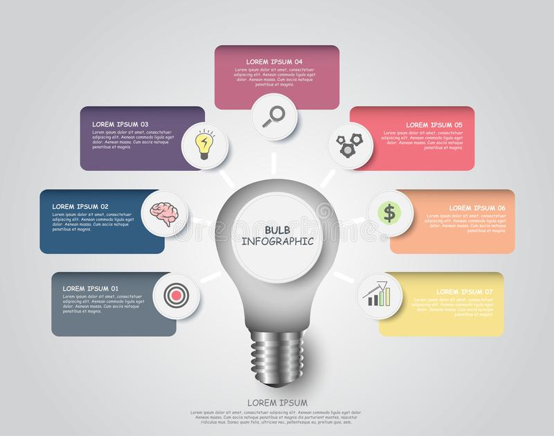 Vector modern infographic bulb design with seven steps for business success. With options for diagram, workflow, timeline or web design vector illustration