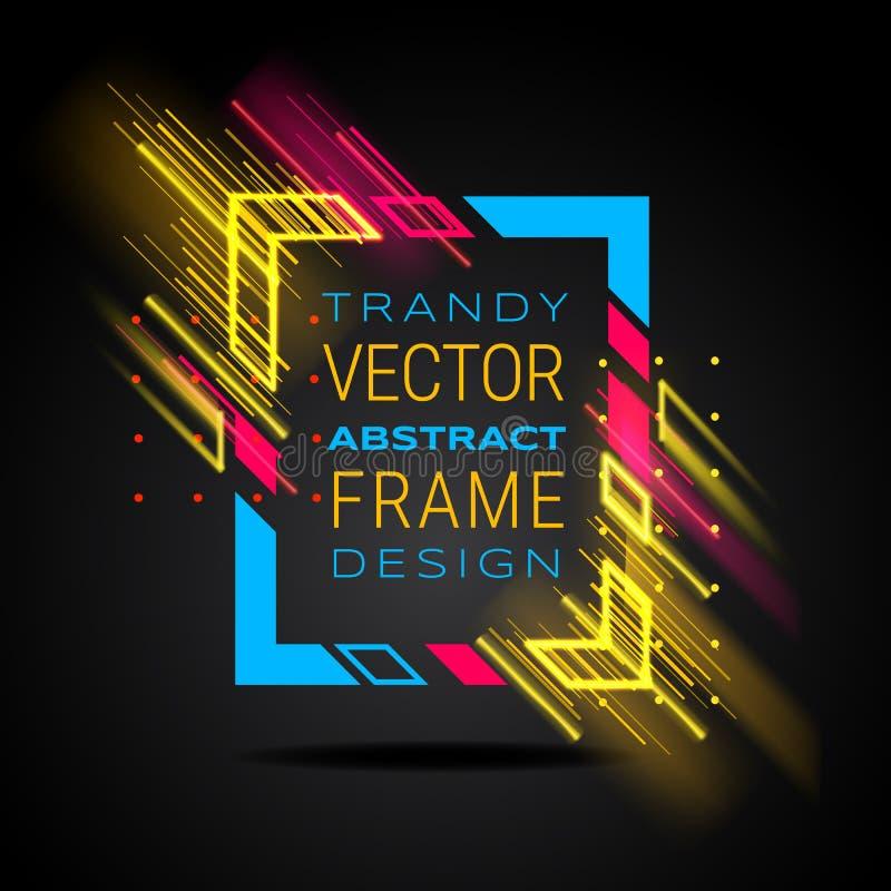 Vector modern kader met geometrische neon gloeiende die lijnen op zwarte achtergrond worden geïsoleerd Kunstgrafiek met glitch ef royalty-vrije illustratie