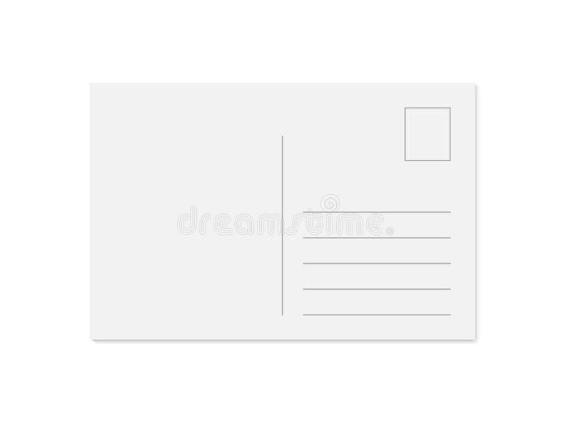 Vector modern leeg prentbriefkaarmalplaatje met plaats voor zegel, adres en bericht vector illustratie