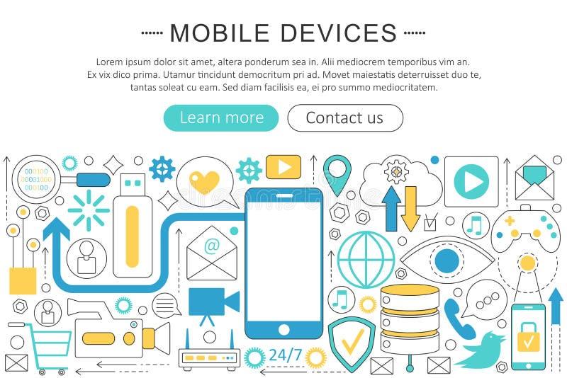 Vector modern line flat design Mobile devices, gadgets concept. Smart mobile gadgets technology icons Website Header stock illustration