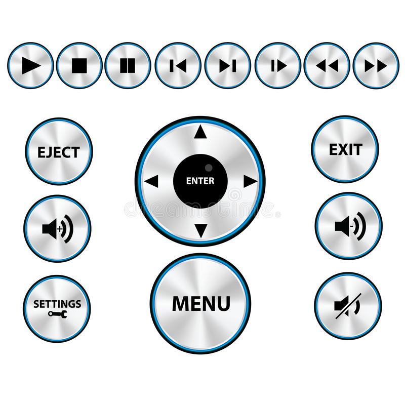 Vector Modern Media player Button Set stock images