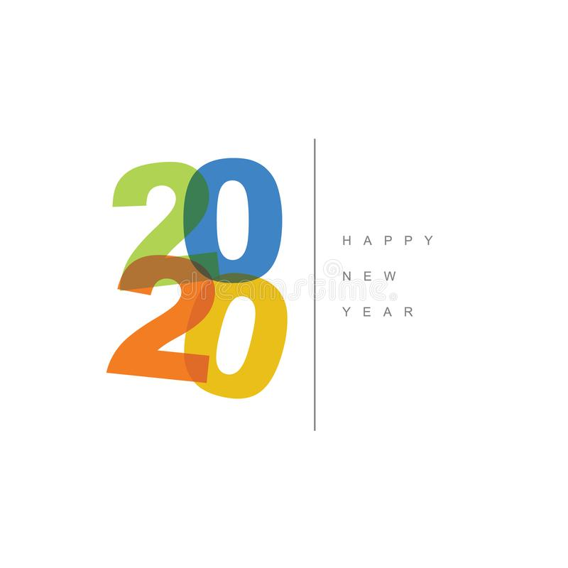 Vector Modern minimalistic Happy new year card 2020 royalty free stock photography