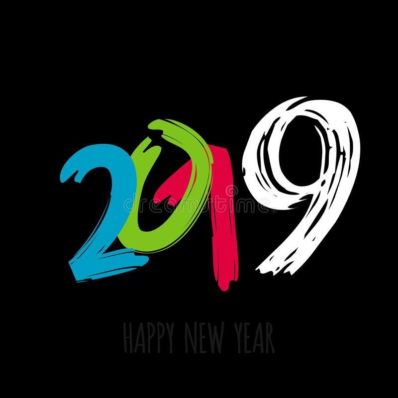 Vector modern minimalistic Happy new year card for 2019 with main big numbers - dark version vector illustration