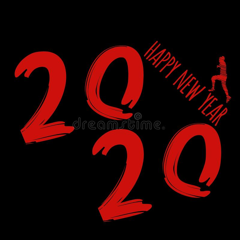 Vector modern minimalistic Happy new year card for 2020 with main big numbers - dark version with red letters vector illustration