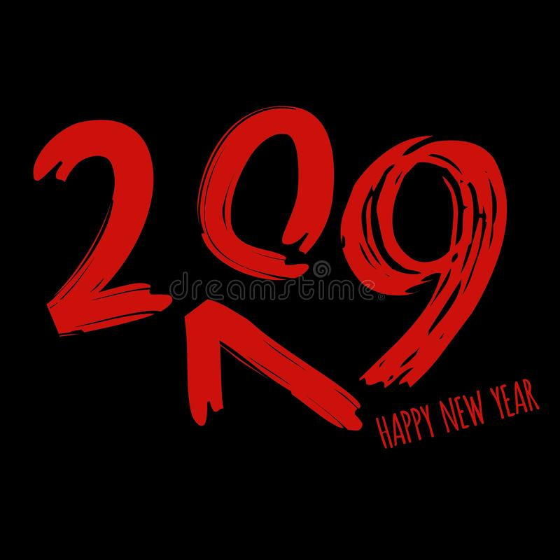 Vector modern minimalistic Happy new year card for 2019 with main big numbers - dark version with red letters vector illustration
