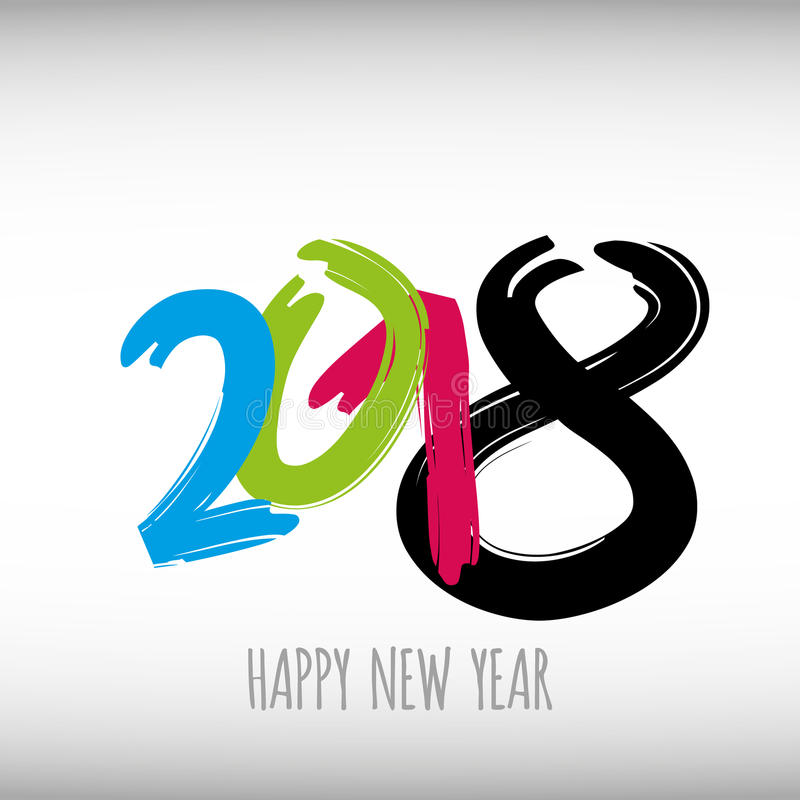 Vector modern minimalistic Happy new year card for 2018 with main big numbers - light version. Vector modern minimalistic Happy new year card for 2018 with main royalty free illustration