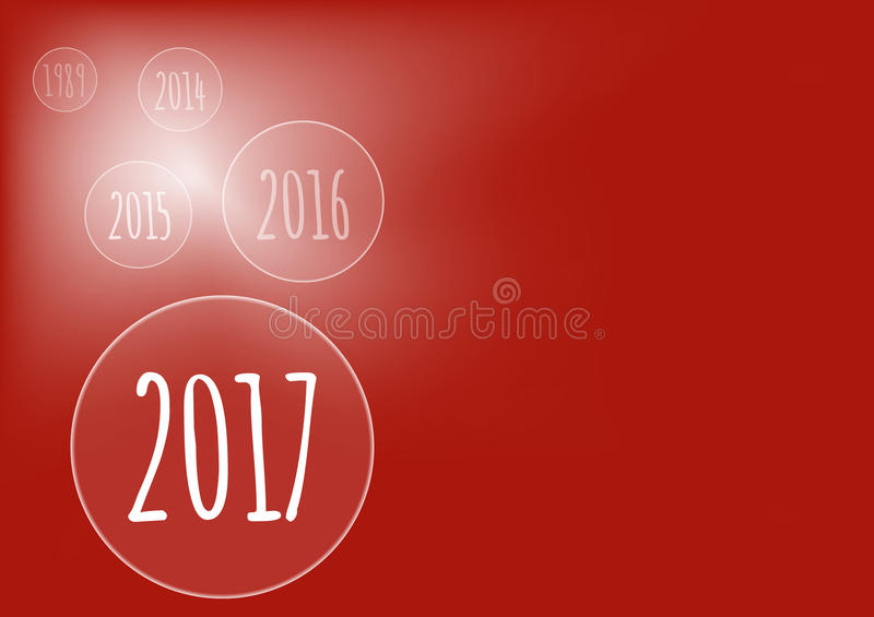 Vector modern minimalistic Happy New Year 2017 red celebration card with bubbles - red styled version, eps stock image. vector illustration