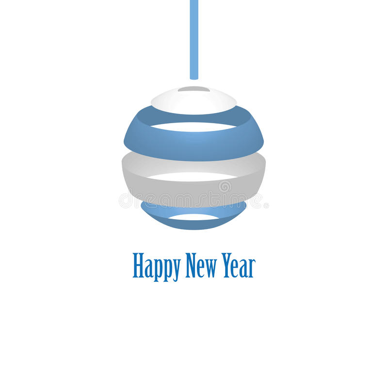 Vector modern minimalistic New year card with trendy sphere. Stock vector image. royalty free illustration