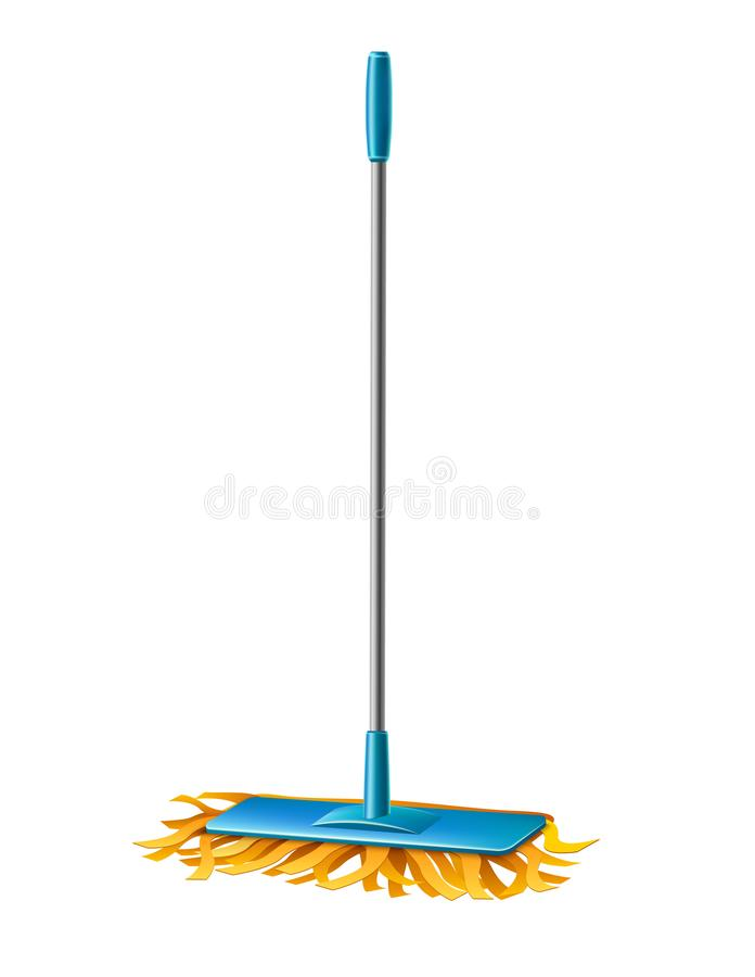 Vector modern mop with fibers for household chores. Realistic modern blue mop with fibers for household chores, domestic cleaning design. Vector mopping tool for vector illustration