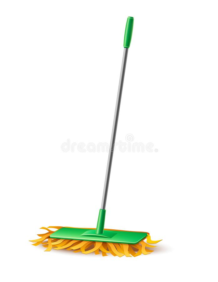 Vector modern mop with fibers for household chores. Realistic modern green mop with fibers for household chores, domestic cleaning design. Vector mopping tool stock illustration