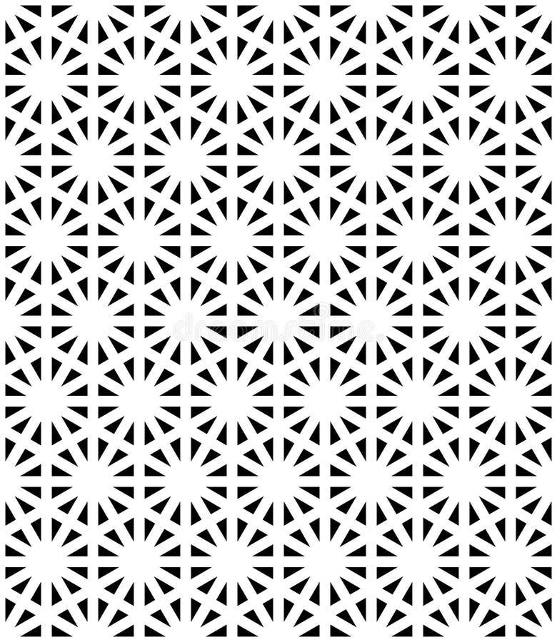 Vector modern naadloos heilig meetkundepatroon, zwart-witte abstracte geometrische achtergrond royalty-vrije illustratie
