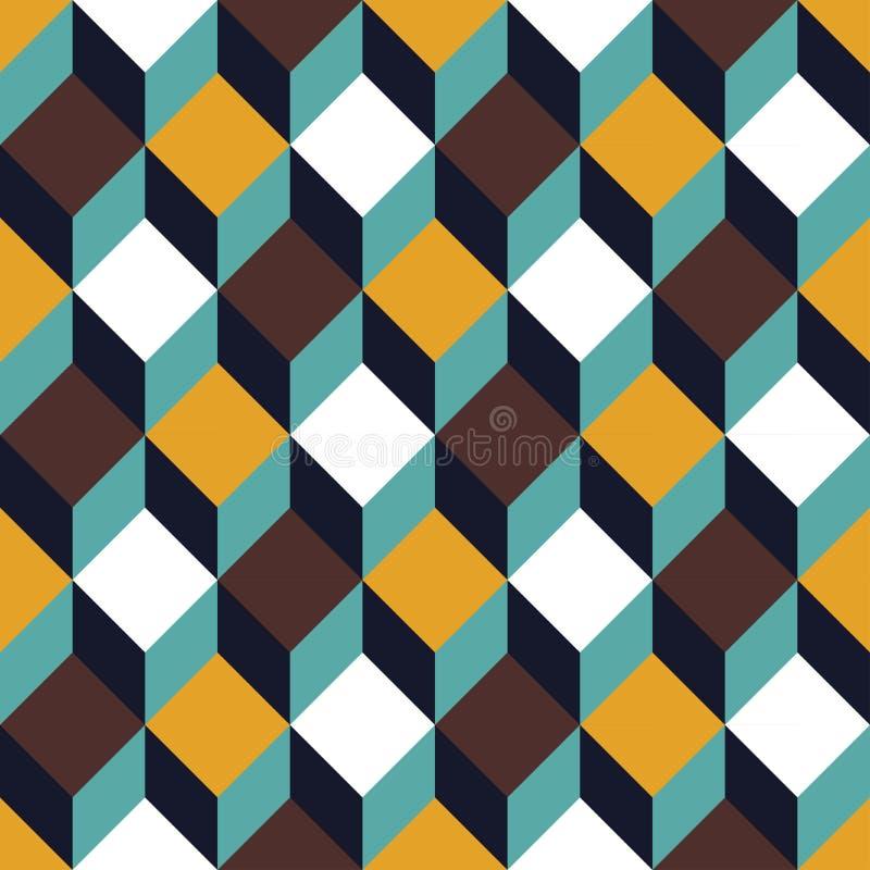 Vector modern naadloos kleurrijk meetkunde vierkant patroon, kleurensamenvatting vector illustratie