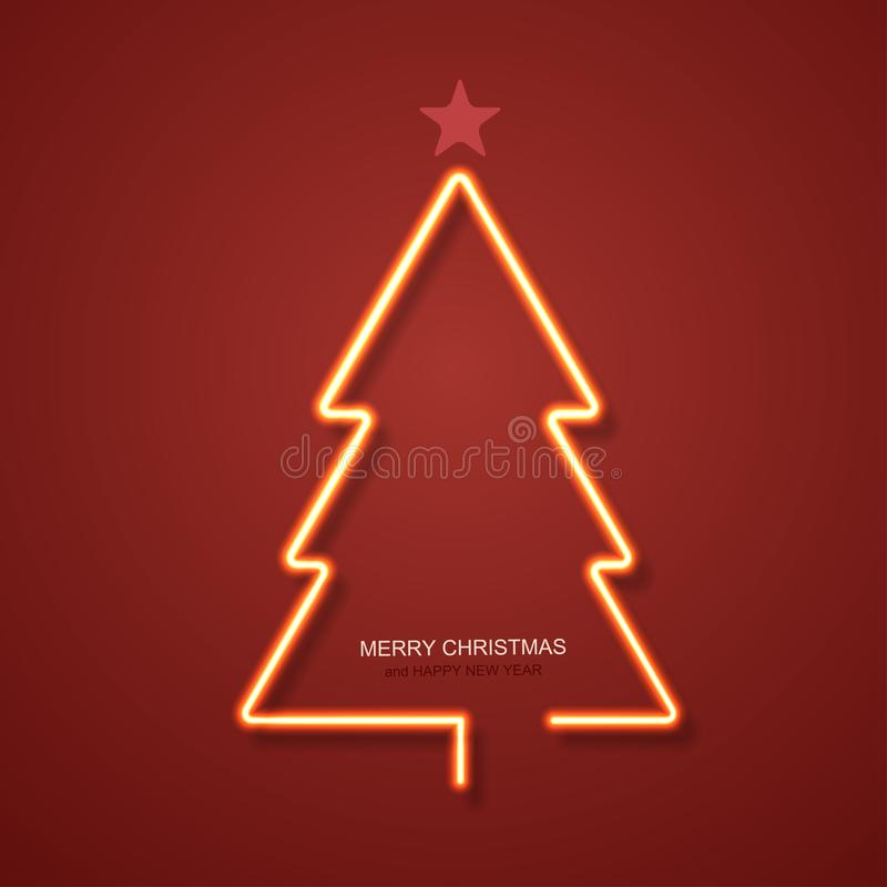 Free Vector Modern Neon Christmas Tree Background. Royalty Free Stock Photos - 100076878