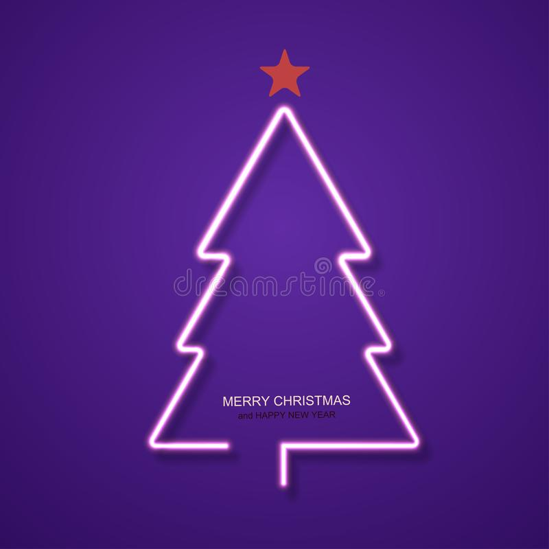 Free Vector Modern Neon Christmas Tree Background. Royalty Free Stock Image - 99463936