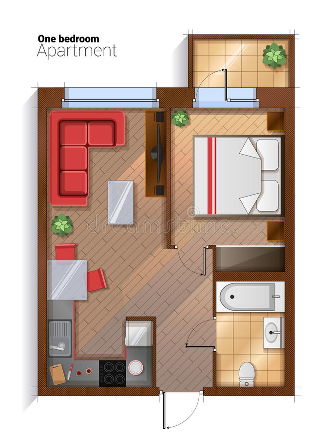 Vector modern one bedroom apartment top view illustration for Modern 1 bedroom apartments