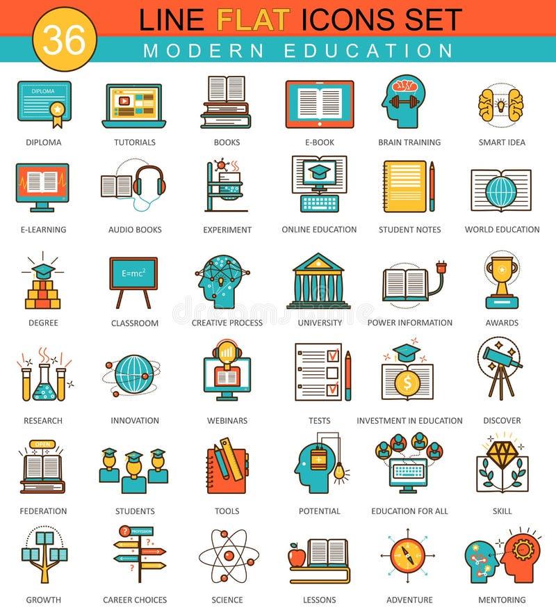 Vector Modern online education flat line icon set. Modern elegant style design for web. stock illustration