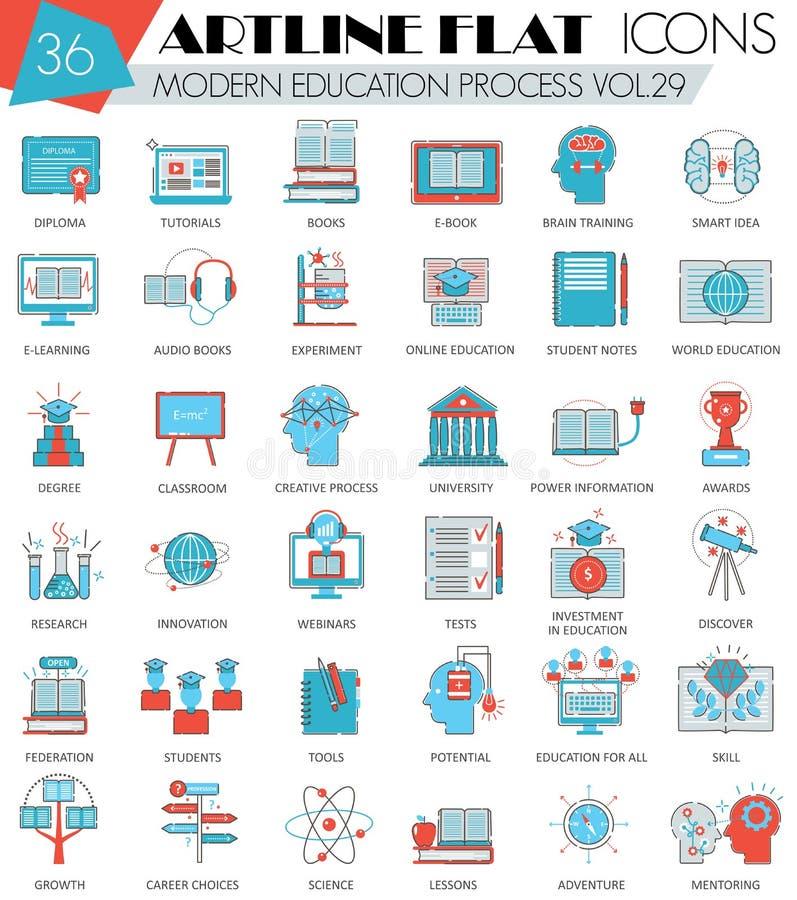 Vector Modern online education ultra modern outline artline flat line icons for web and apps. Vector Modern online education ultra modern outline artline flat vector illustration