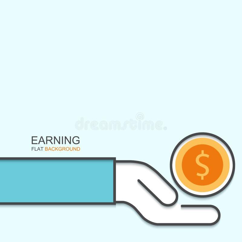 Finance Background: Vector Modern Outline Flat Design Of Earning Stock Vector