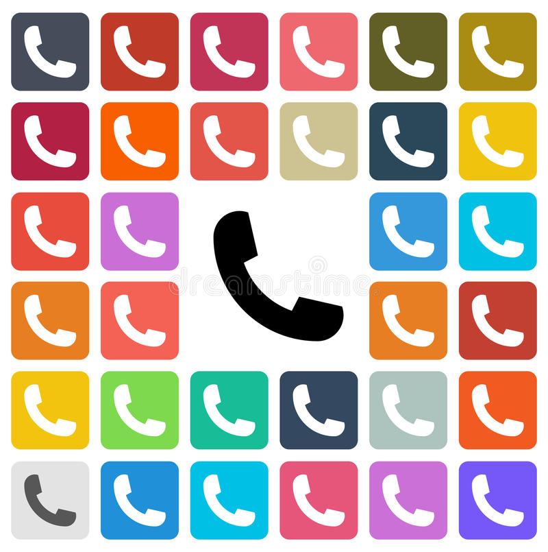 Vector modern phone icon set in button stock illustration