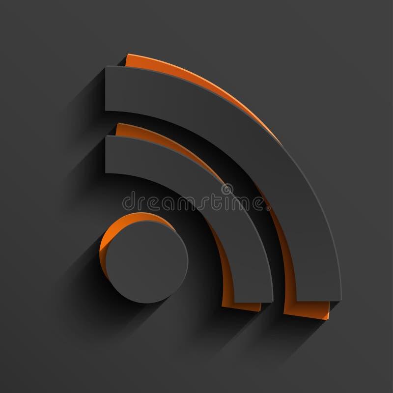 Vector modern RSS-voerteken met schaduw stock illustratie