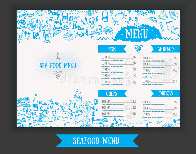 Vector modern seafood menu design. Hand drawn seafood menu. Great for seafood menu flyer, card, seafood menu business stock illustration