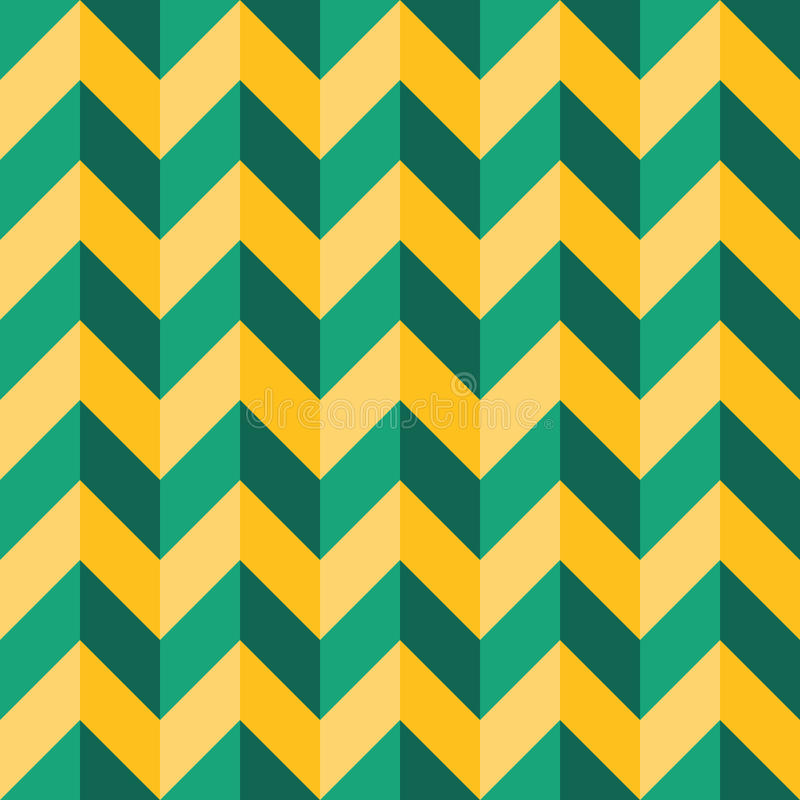 Vector modern seamless colorful geometry chevron lines pattern, color green yellow abstract stock illustration
