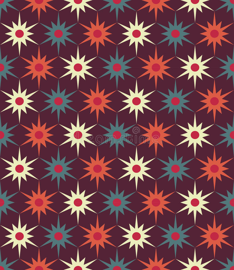 Vector modern seamless colorful geometry floral pattern, color abstract geometric background stock illustration