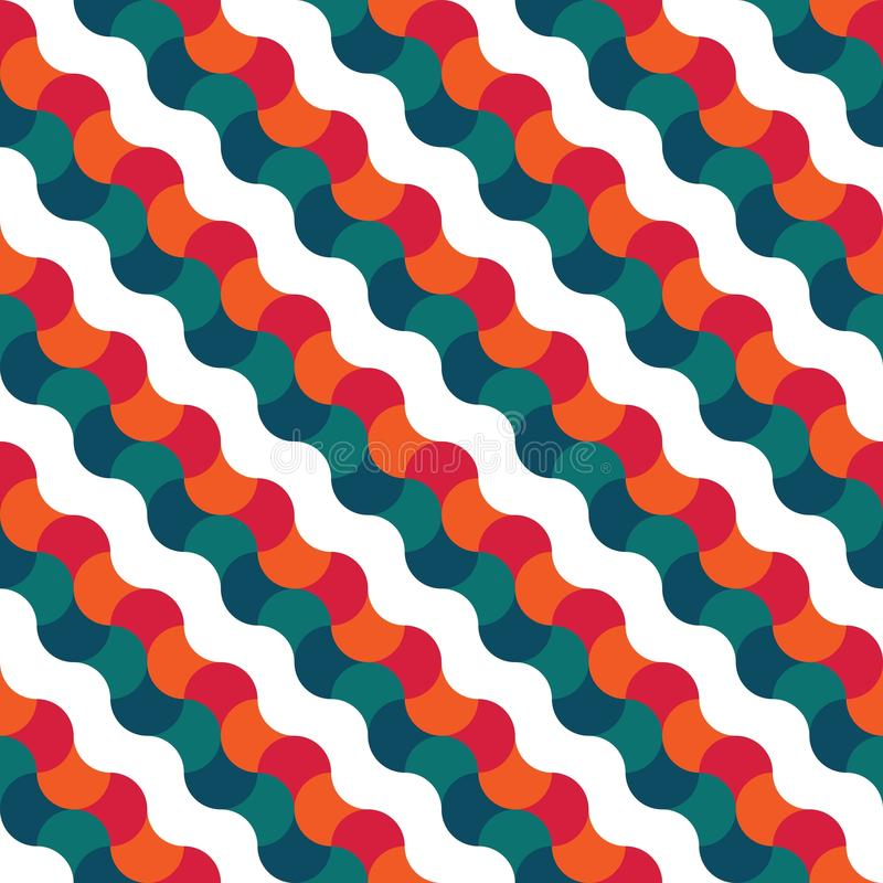 Vector modern seamless colorful geometry pattern. Wavy, color orange blue abstract geometric background, wallpaper print, retro texture, hipster fashion design stock illustration