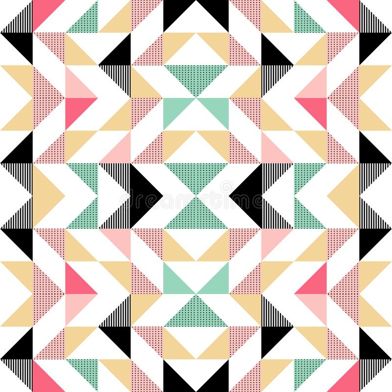 Vector modern seamless colorful geometry triangle pattern, color abstract geometric background, pillow multicolored print, retro royalty free illustration