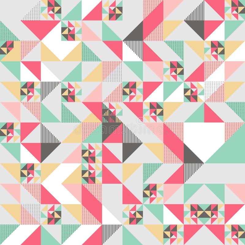 Vector modern seamless colorful geometry triangle pattern, color abstract geometric background, pillow multicolored print, retro. Texture, hipster fashion stock illustration