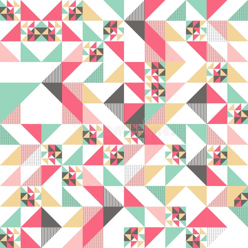 Vector modern seamless colorful geometry triangle pattern, color abstract geometric background, pillow multicolored print, retro. Texture, hipster fashion vector illustration