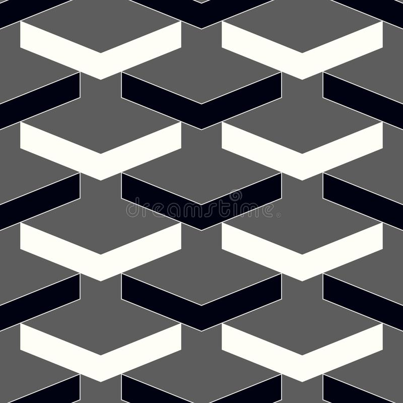 Vector modern seamless geometry pattern chevron, black and white abstract geometric background, subtle pillow print, monochrome re stock illustration