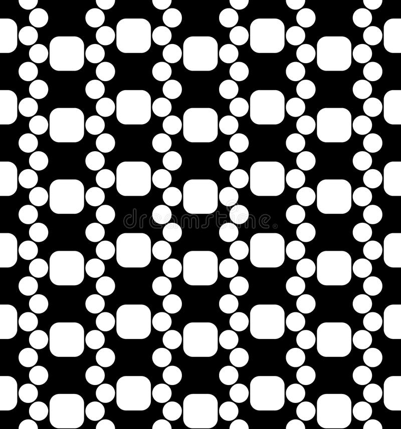 Vector modern seamless geometry pattern dna, black and white abstract. Geometric background, pillow print, monochrome retro texture, hipster fashion design stock illustration