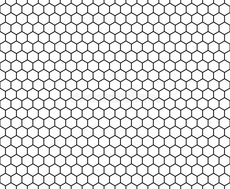 Vector modern seamless geometry pattern hexagon, black and white honeycomb abstract. Geometric background, subtle pillow print, monochrome retro texture royalty free illustration