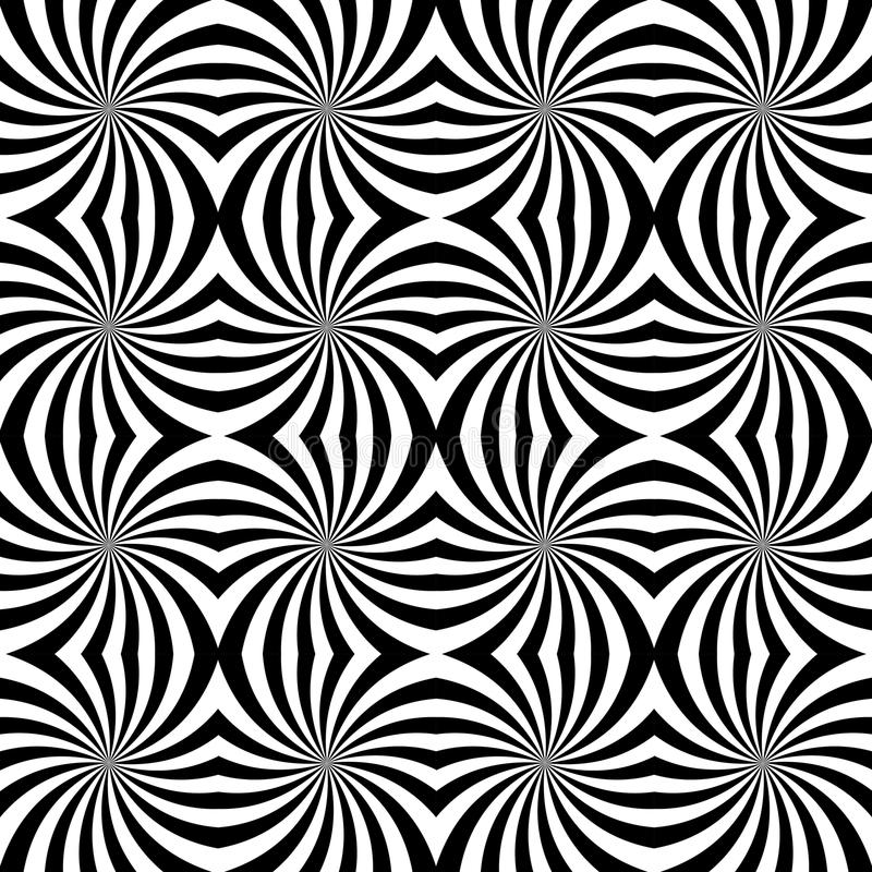 Vector modern seamless geometry pattern spiral, black and white abstract. Geometric background, pillow print, monochrome retro texture, hipster fashion design royalty free illustration