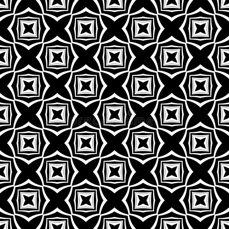 Decorative Seamless Floral Geometric Black & White Pattern Background. Flowers, geometry. Vector modern seamless geometry pattern star, black and white abstract royalty free illustration
