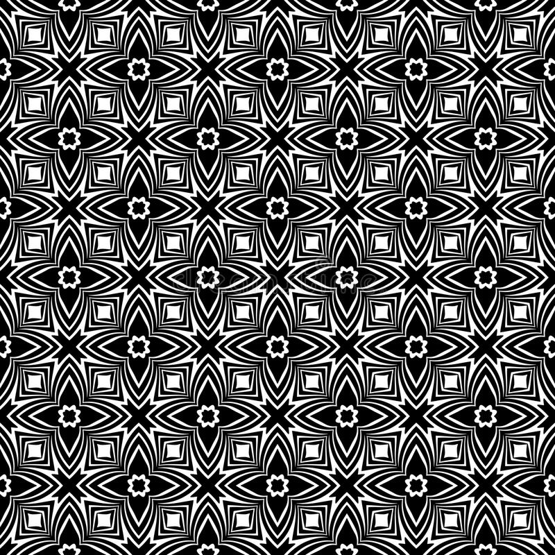 Decorative Seamless Floral Geometric Black & White Pattern Background. Flowers, geometry. Vector modern seamless geometry pattern star, black and white abstract stock illustration